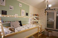 Children's room ideas for siblings – IKEA KURA loft bed as a DIY house bed - Kinderzimmer