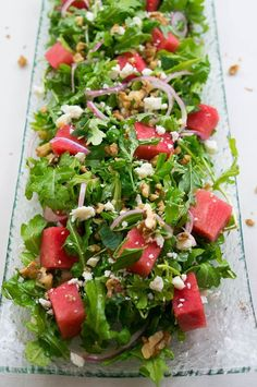 Watermelon Arugula Salad – Kitschen Cat Watermelon Arugula Salad – an explosion of sweet, salty, nutty, and peppery flavor in every bite! Gourmet Recipes, Vegetarian Recipes, Cooking Recipes, Healthy Recipes, Beef Recipes, Cabbage Recipes, Meatloaf Recipes, Meatball Recipes, Shrimp Recipes
