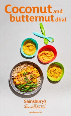 Blend this delicious coconut and butternut squash dahl into a smooth puree for your little one. #babyfood #weaning #babyrecipes #toddlerfood #toddlerrecipes #babyfoodrecipes #Sainsburys