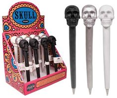 Skull Pen in 3 different colors from MacabreMercantile.com