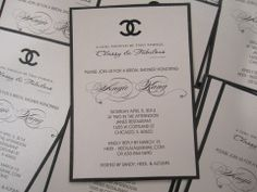 Crystalizing these custom made Chanel themed Bridal Shower Invitations!