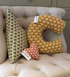 A unique and funky knitted letter cushion in a 'Hearts' pattern. Letter Patterns, Heart Patterns, Fabric Patterns, Knitted Heart Pattern, Letter Cushion, Cushions, Pillows, Room Inspiration, Baby Gifts