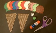 Ice cream ADDITION for Toddler and PreK kids.  Counting, addition, comparing, charts, pre-math skills.