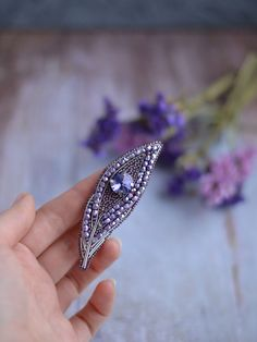 Violet Feather Brooch Swarovski Crystals Pin Beaded Coat Brooch Trendy Purple Accessory