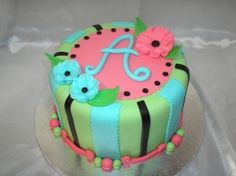 A great cake for a teenager. Happy Birthday Aggie! By craftyleah on CakeCentral.com