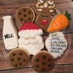 Cookies for Santa Sugar Cookies/ Decorated Christmas Sugar Cookies - Cookie decorating - Christmas Christmas Sugar Cookies, Christmas Snacks, Noel Christmas, Holiday Cookies, Holiday Treats, Decorated Christmas Cookies, Santa Cookies, Decorated Sugar Cookies, Holiday Recipes