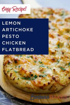 Perfect for a party or weeknight dinner! An easy-to-make flatbread topped with a flavorful lemon artichoke pesto, diced grilled chicken and smoky gouda cheese then baked until it's golden brown and gooey, cheesy delicious. #barbarabakes #flatbreadrecipes #chickendinnerrecipes #flatbreadideas #foodforacrowd Chicken Flatbread, Flatbread Recipes, Pesto Chicken, Grilled Chicken, 30 Minute Meals, Quick Meals, Diced Chicken, Tasty, Yummy Food