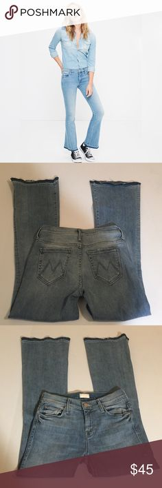 MOTHER Undone Hem Weekender Flare Crop Jeans, 25 MOTHER Undone Hem Weekender Flare Crop Jeans in size 25. Flat lay measure of the waist is 13.75. Rise is 8.75, inseam is 30, and leg opening is 10. Features a light wash, factory fading, whiskering,  and raw leg hems with variations of blue wash. Made from 90% cotton, 6% polyester, and 4% elastan. Very soft and stretchy jeans. In overall very good condition, please ask if you have any questions. MOTHER Jeans