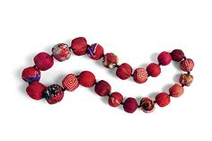 Red Silk Kantha Necklace by Mieko Mintz: Silk Necklace available at…
