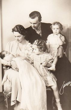TRH Prince Gustaf Adolf and Princess Sibylla of Sweden with Margaretha, Birgitta and the new born Princess Desirée in 1938