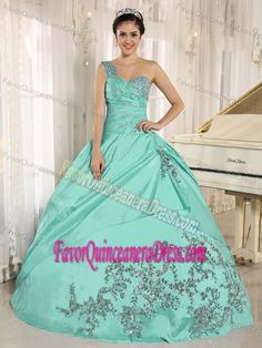 Turquoise One Shoulder Quinceanera Gown