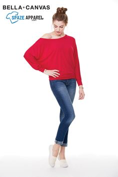Buy Bella+Canvas 8850 Ladies Flowy Long-Sleeve Off Shoulder T-Shirt - $11.45 at spazeapparel.com Size: XS, S, M, L, XL, 2XL  #ladiestshirts #ladieslongsleevetshirts #tshirts