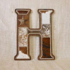 Letter H Wall Decor cowhide wall letter g - monogram, wall decor, western nursery