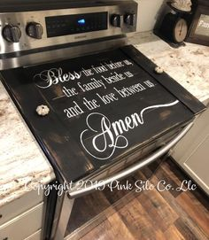 Prayer stove top cover / bless this food stove cover / stove cover / farmhouse stove cover, farmhouse sign / stove board – Farmhouse Decor Fireplace Kitchen Stove, Kitchen Redo, Kitchen Remodel, Kitchen Design, Kitchen Ideas, Wooden Stove Top Covers, Stove Covers, Glass Stove Top Cover, Stove Board