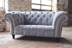 MODERN HANDMADE CHESTERFIELD SOFA COUCH CHAIR 2 SEAT SILVER GREY VELVET | eBay