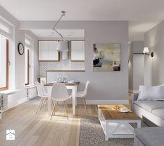 Rodzinne Pastele - Mała otwarta jadalnia w salonie, styl skandynawski - zdjęcie od EG projekt