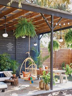 A dreamy patio under a pergola with beautiful plants and lighting. A dreamy patio under a pergola with beautiful plants and lighting. Love this hanging chair and the boho feel. Backyard Patio Designs, Pergola Designs, Pergola Patio, Backyard Landscaping, Patio Ideas, Wooden Pergola, Pergola Plans, Pergola Ideas, Rustic Pergola