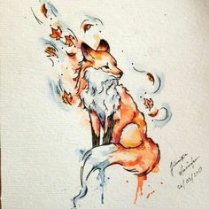What do you know about fox tattoo meaning? Meanings of the fox tattoo design may be controversial. Watercolor Fox Tattoos, Watercolor Sketch, Watercolor Ideas, 3d Drawings, Animal Drawings, Fall Drawings, Drawing Animals, Fox Tattoo Design, Tattoo Designs