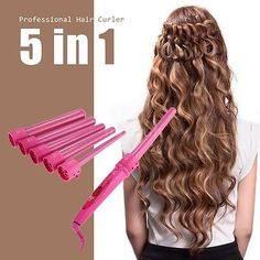 Pro Hair Curler Roller 5in1 Functions Cylindrical 5 Curling Irons Wand Set K7O7