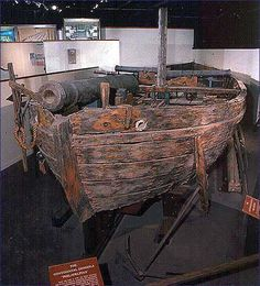 A veteran of the American Revolutionary War, the Continental gondola Philadelphia is the oldest intact warship currently on display in North America. After its recovery from the bottom of Lake Champlain in 1935, the fifty-four foot long Philadelphia, armed with three cannon and eight swivel guns, was moved to the newly constructed building housing what is now the National Museum of American History of the Smithsonian Institution.