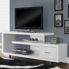 "Monarch 60"" Hollow-Core TV Stand in White - I 2573"