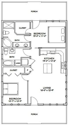 Amazing Shed Plans - PDF house plans, garage plans, shed plans. - Now You Can Build ANY Shed In A Weekend Even If You've Zero Woodworking Experience! Start building amazing sheds the easier way with a collection of shed plans! 2 Bedroom House Plans, Cabin House Plans, Cabin Floor Plans, Tiny House 2 Bedroom, 2 Bedroom Apartment Floor Plan, 30x40 House Plans, Bedroom Bed, Small Apartment Layout, House Bath