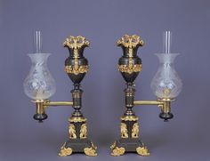 Pair of Argand Mantel Lamps