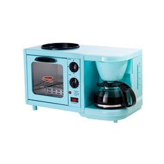 Elite Cuisine 4-Cup Coffee Maker with Oven and Griddle in Blue