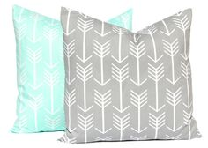Mint Green and Gray Pillow Covers Grey Pillow by FestiveHomeDecor, $32.00