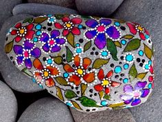 Earth Laughs in Flowers / Painted Rock / Sandi by LoveFromCapeCod