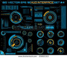 Abstract future, concept vector futuristic blue virtual graphic touch user interface HUD set.  - stock vector