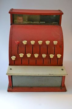 Items similar to Vintage Toy Cash Register--Red on Etsy - Vintage Toys 80s, 1960s Toys, Vintage Games, Retro Toys, Vintage Mom, Vintage Stuff, Decor Vintage, Vintage Ideas, Childhood Toys