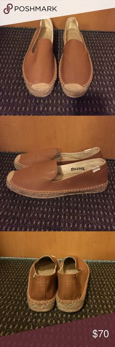 Soludos platform smoking slipper Tan leather soludos platform smoking slipper. Got the wrong size so they have never been worn! A great company with quality products! A great show for any collection :) Soludos Shoes Espadrilles