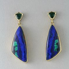 Morenci Azurite Earrings - Hand Wrought 18k Gold