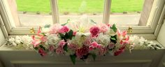 #Wedding reception #bridal #table #flowers top table pale pink