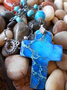 Beautiful cross for Christmas gift! https://www.etsy.com/listing/186701856/natural-stone-cross-necklace