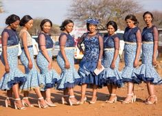 African Bridesmaid Dresses, African Wedding Attire, African Print Dresses, African Print Fashion, African Wear, African Fashion Dresses, African Women, African Dress, Sesotho Traditional Dresses