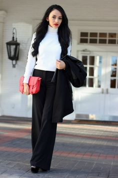 White turtleneck, black wide leg pants, & black peep toe heels