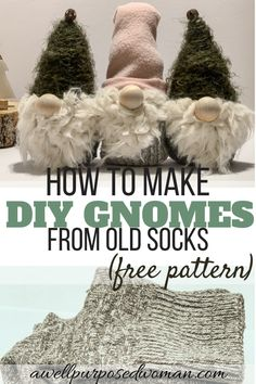 Aren't gnomes down right precious? This tutorial will show you step by step how to make these sweet little gnomes from old socks! So start looking through your mismatched sock pile because these gnomes are simple and fun to make! There is a free pattern for the beard and hat included. So have fun making these diy sock gnomes with free pattern!