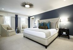 Bedroom: The Extraordinary Bedroom Sets With White Color Design Plus Dark Blue Wall Decor Also With Antique Nightstand And Bedroom Lamp of Considering Some Kinds of the Contemporary Bedroom Sets Light Fixtures Bedroom Ceiling, Bedroom Lamps, Ceiling Lights, Contemporary Bedroom Sets, Dark Blue Walls, Blue Ceilings, Blue Wall Decor, King Bedroom Sets, Modern House Design