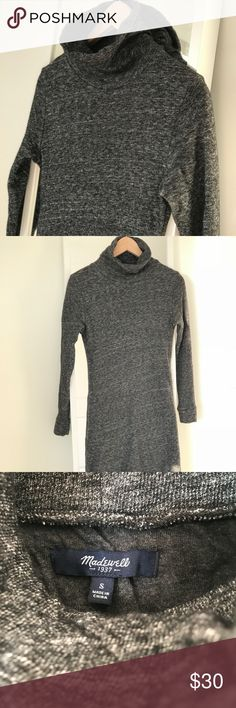 """Madewell Gray Marled Turtleneck Sweater Dress """"A streamlined turtleneck dress made of special Italian knit with soft jersey on the inside. We love the figure-skimming fit that ends right above the knee, in other words, this dress will make you look taller.""""  It's a must have in colder climates! (Hello New York, Minnesota, Michigan! ❄️)  It's thick and high quality and pairs great with just tights and boots for an effortless look. It's tight! So if you don't like fitted clothes, maybe it's…"""