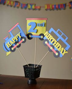 Birthday Train Party Decorations, Thomas the Train, Train Birthday Party Centerpiece - CUSTOM WORDS 3-pieces - 2nd Birthday, 3rd Birthday. $18.00, via Etsy.