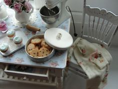 Miniature cottage kitchen baking table and chair