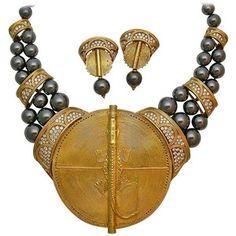 Preowned Boucheron Hematite Diamond Gold African Suite