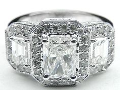 Engagement Ring - Three Stone Radiant Cut Diamond Engagement Ring Vintage Style in 14K White Gold - ES242RAWG