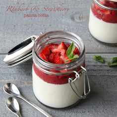 Rhubarb Strawberry Panna Cotta by Style Sweet CA for Brit + Co #strawberry #rhubarb #pannacotta