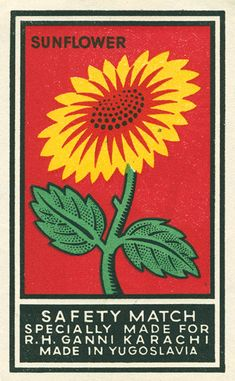 Love the colours here and stark graphic quality - safety matches from Yugoslavia. Vintage Packaging, Vintage Labels, Vintage Posters, Vintage Art, Vintage Graphic Design, Graphic Art, Illustrations, Illustration Art, Sunflower Illustration