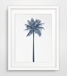 Palm Tree Decor Navy Wall Decor Navy Wall by MelindaWoodDesigns #tropicaldecor