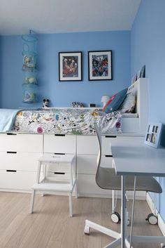 Ikea Hack Children's bedroom makeover. Cabin bed midsleeper bed using Nordli chests of drawers and DIY MDF Desk on Ikea desk legs on castors #interior design #makeover