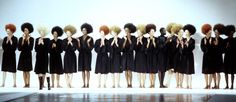 90s runway Afro hair in many colors for Alber Elbaz for Guy Laroche Fall 1998 London Fashion Week. Afro Hairstyles red, brunette, blond, black hair. Hair style by Nicolas Jurnjack